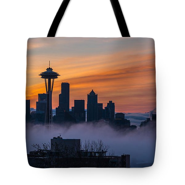 Sunrise Seattle Skyline Above The Fog Tote Bag by Mike Reid
