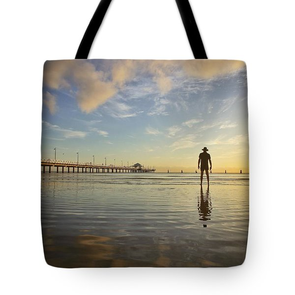 Sunrise Silhouette Down By The Pier. Tote Bag