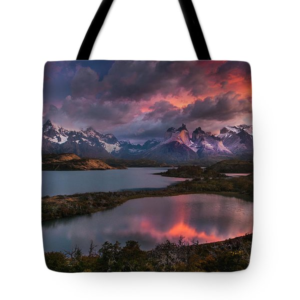 Sunrise Spectacular At Torres Del Paine. Tote Bag