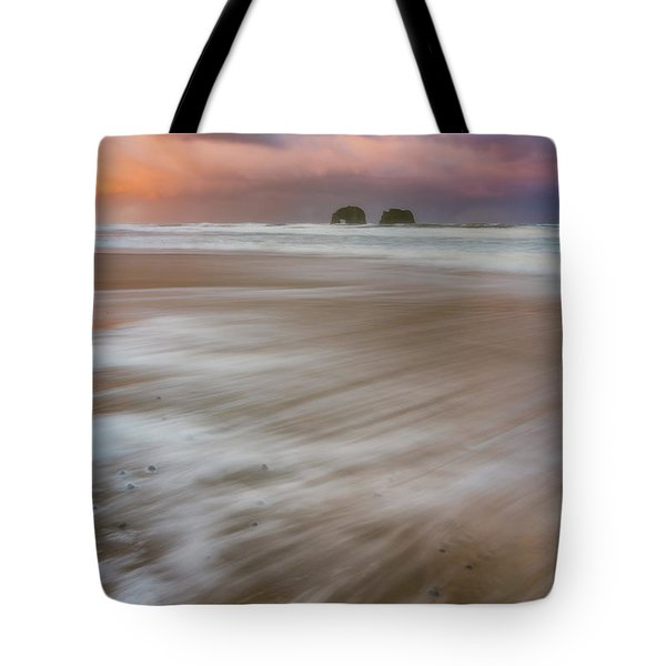 Tote Bag featuring the photograph Sunrise Storm At Twin Rocks by Darren White