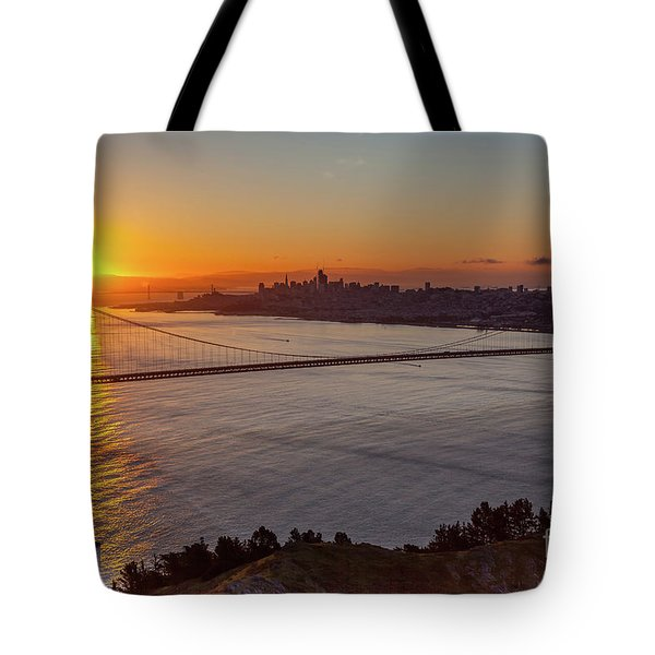 Sunrise Sunlight Hitting The Coastal Rock On The Shore Of The Go Tote Bag