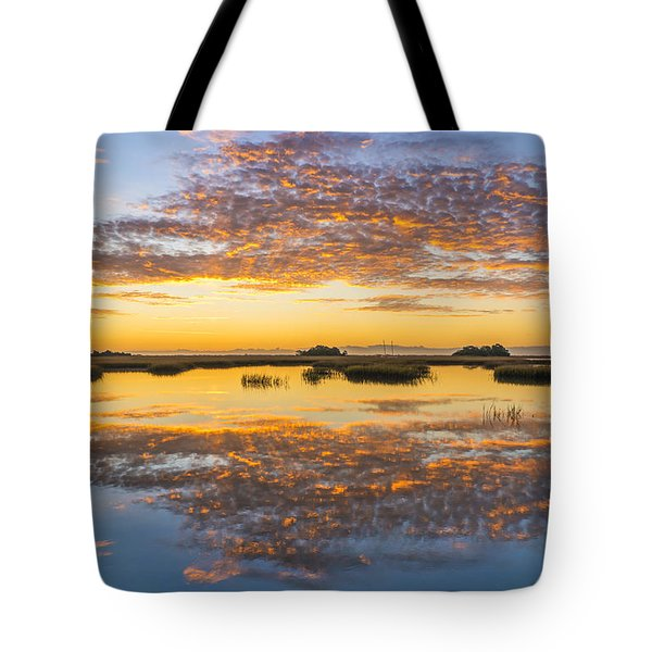 Sunrise Sunset Phot Art - Blue And Gold Tote Bag