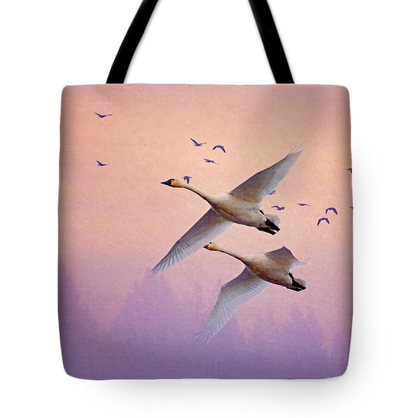 Sunrise Swans Tote Bag