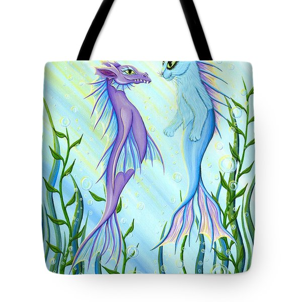 Sunrise Swim - Sea Dragon Mermaid Cat Tote Bag