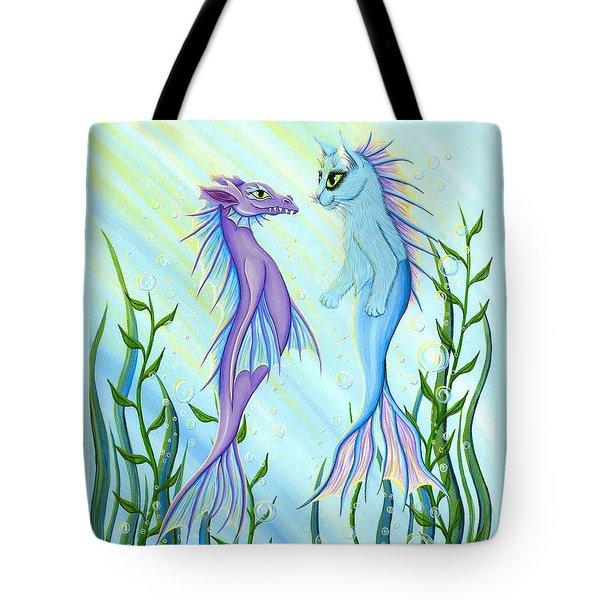 Sunrise Swim - Sea Dragon Mermaid Cat Tote Bag