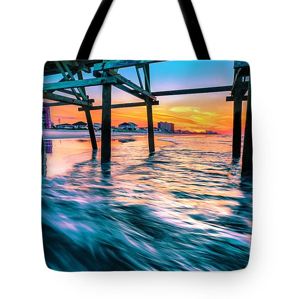 Sunrise Under Cherry Grove Pier Tote Bag