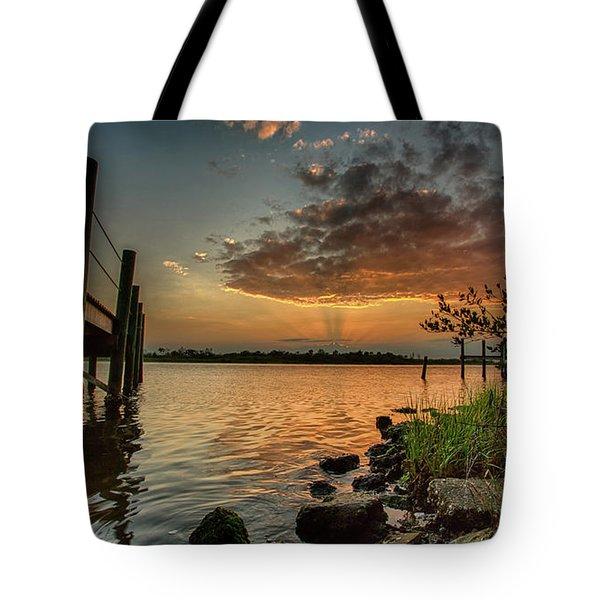 Sunrise Under The Dock Tote Bag