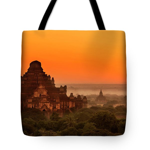 Sunrise View Of Dhammayangyi Temple Tote Bag