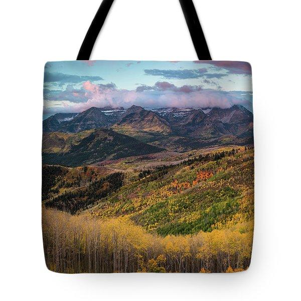 Sunrise View Of Mount Timpanogos Tote Bag