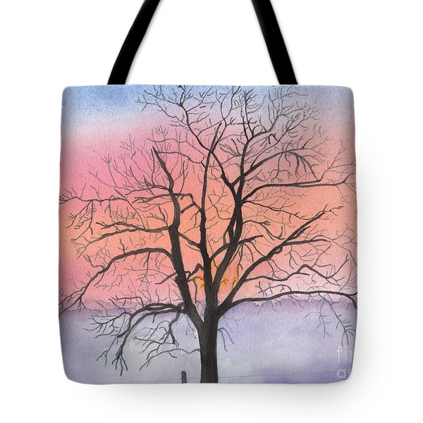 Sunrise Walnut Tree 2 Watercolor Painting Tote Bag