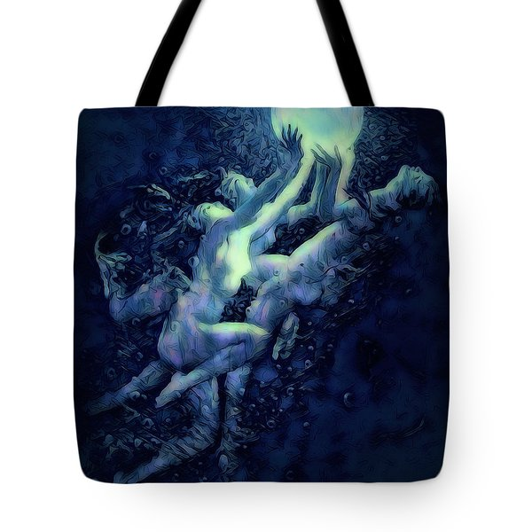 Tote Bag featuring the digital art Sunrise Water Nymphs by Pennie McCracken