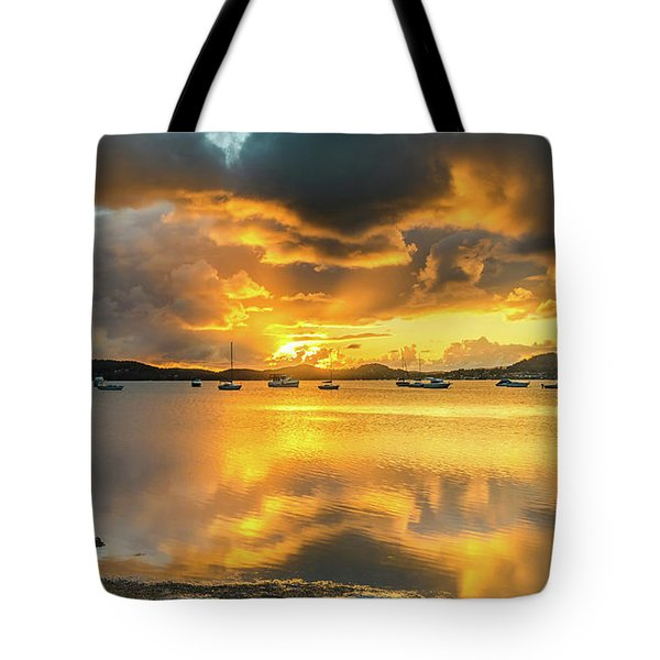 Sunrise Waterscape With Reflections Tote Bag
