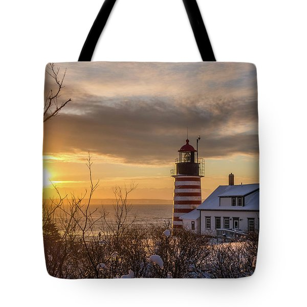 Sunrise West Quoddy Lighthouse Tote Bag