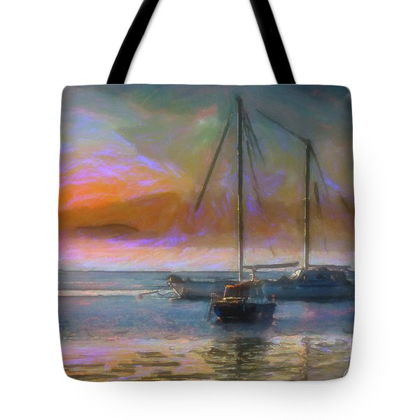 Sunrise With Boats Tote Bag