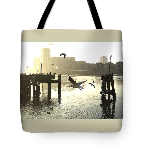 Sunrise With Seagulls Tote Bag