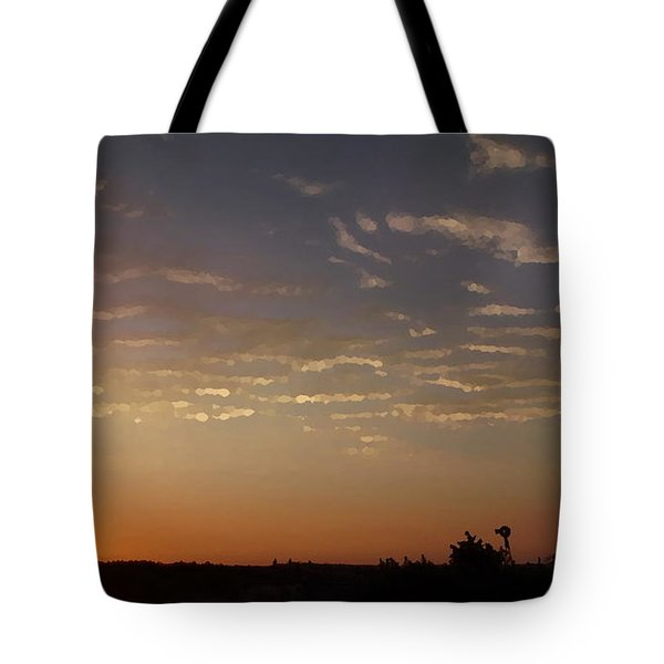 Sunrise With Windmill Tote Bag