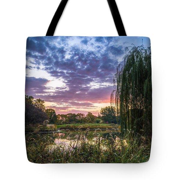 Sunrise At The Arboretum Tote Bag by Alex Uhlarik