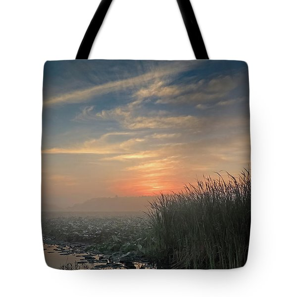 Sunrise Through The Fog Tote Bag