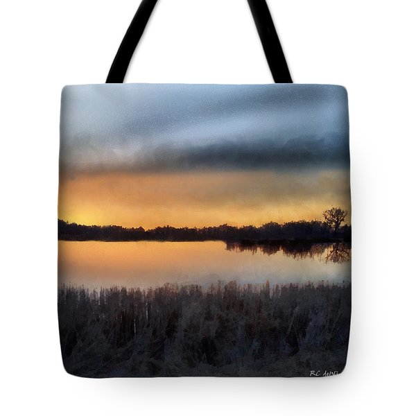 Sunrise On A Frosty Marsh Tote Bag by RC deWinter