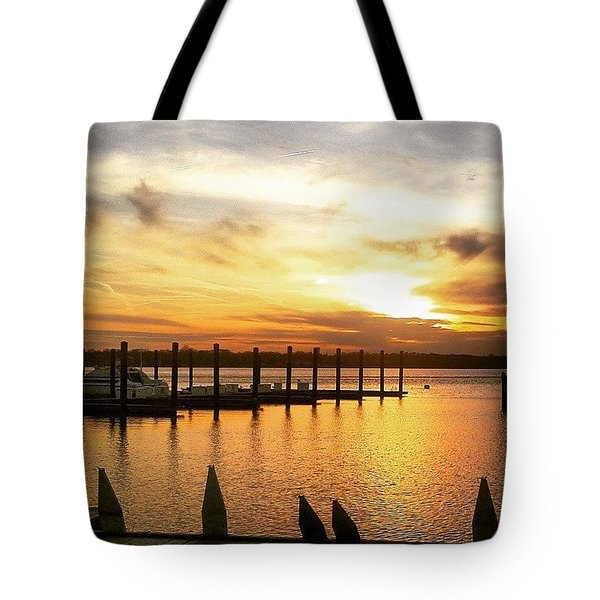 Sunset Over Marina Tote Bag by Lauren Fitzpatrick