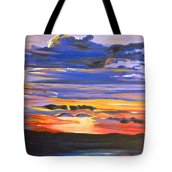 Tote Bag featuring the painting Sunset #5 by Donna Blossom