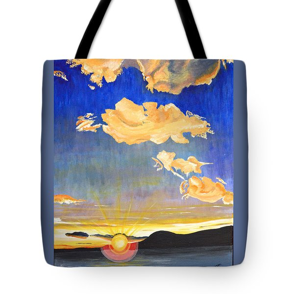 Tote Bag featuring the painting Sunset #6 by Donna Blossom