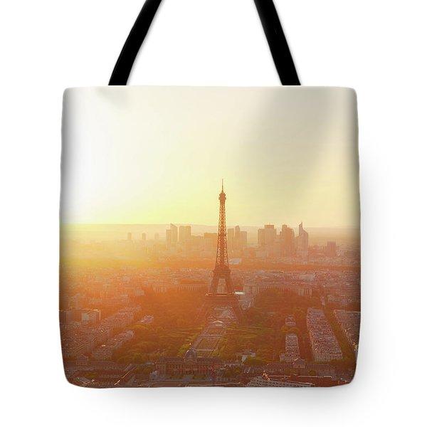 Sunset Above Paris Tote Bag
