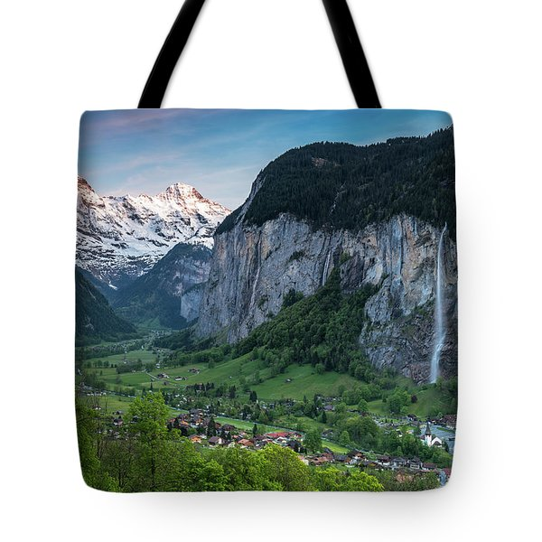 Sunset Above The Lauterbrunnen Valley Tote Bag