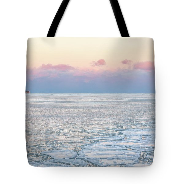 Sunset Across The Frozen Lake Tote Bag