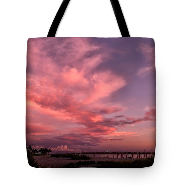 Sunset Afterglow At The Pier Tote Bag