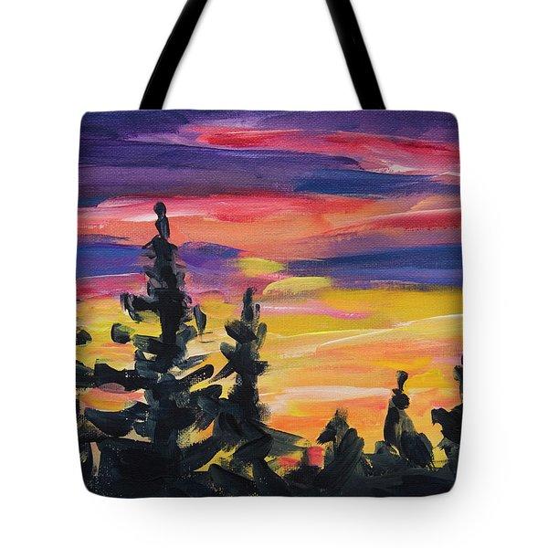 Tote Bag featuring the painting Sunset Alaska by Yulia Kazansky