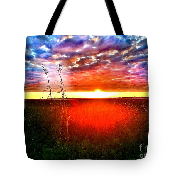 Tote Bag featuring the painting Sunset by Amy Sorrell