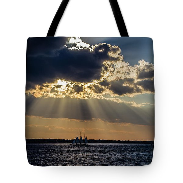 Sunset And A Three Masted Schooner Tote Bag
