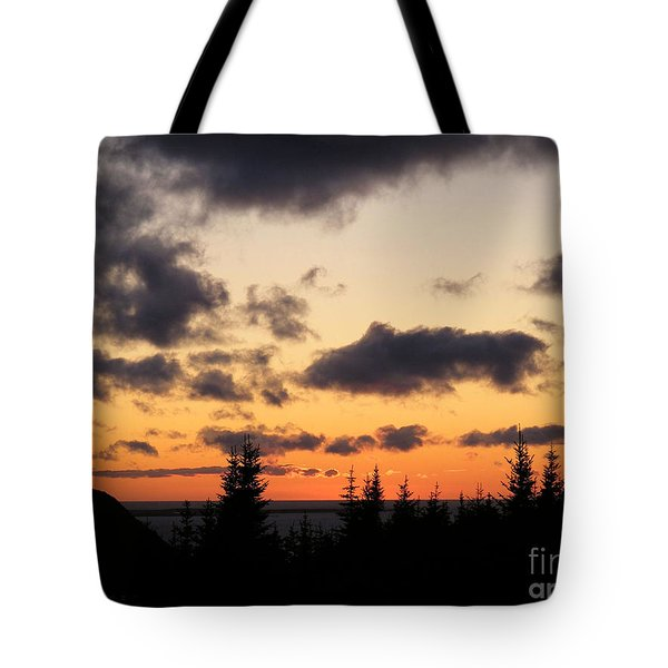 Sunset And Dark Clouds Tote Bag by Barbara Griffin