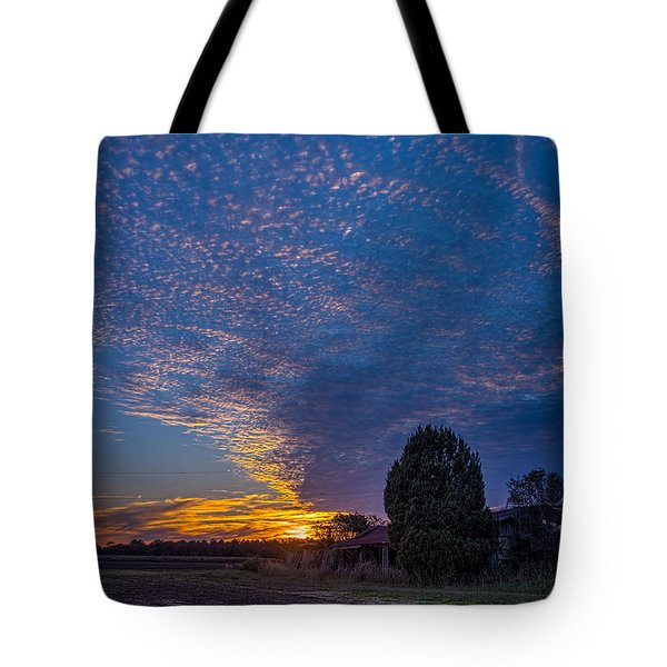Sunset And Dilapidated Barn Tote Bag