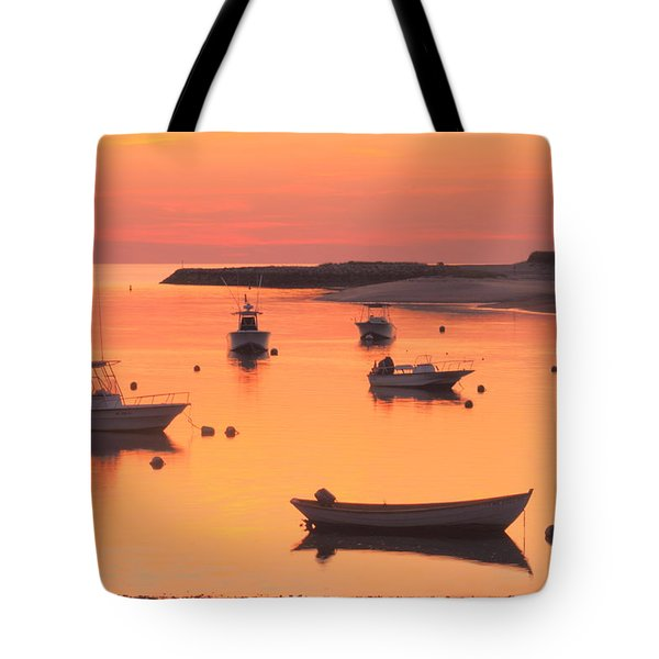Sunset And Great Blue Heron Pamet Harbor Cape Cod Tote Bag