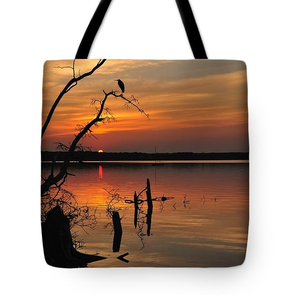 Tote Bag featuring the photograph Sunset And Heron by Angel Cher