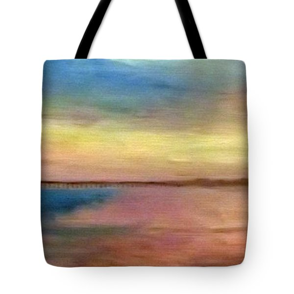 Sunset And Pier Tote Bag