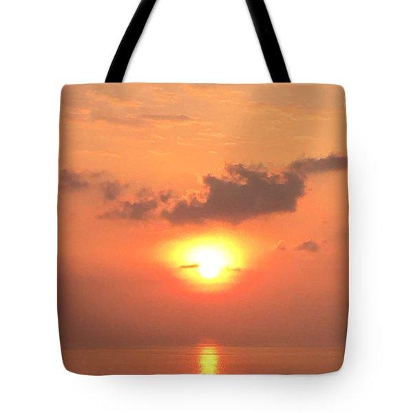 Sunset And Sailboat Tote Bag by Karen Nicholson