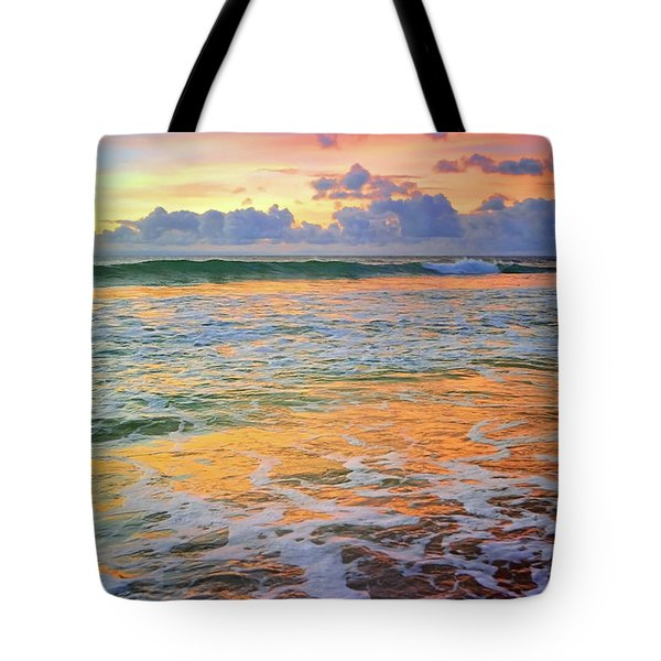 Tote Bag featuring the photograph Sunset And Sea Foam by Tara Turner