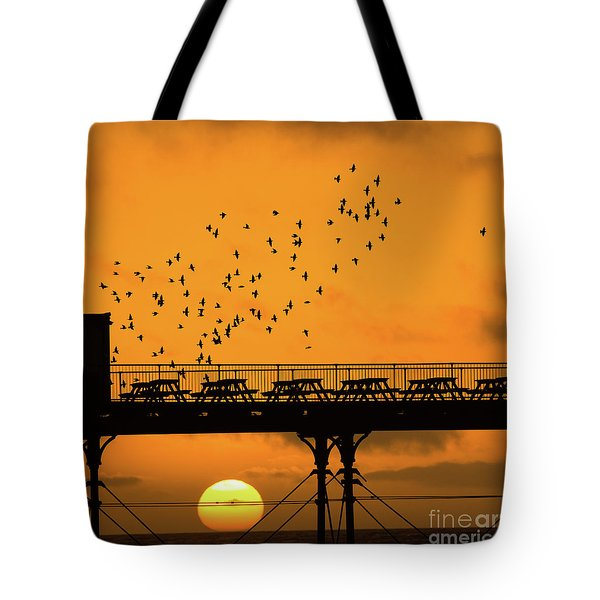 Sunset And Starlings In Aberystwyth Wales Tote Bag
