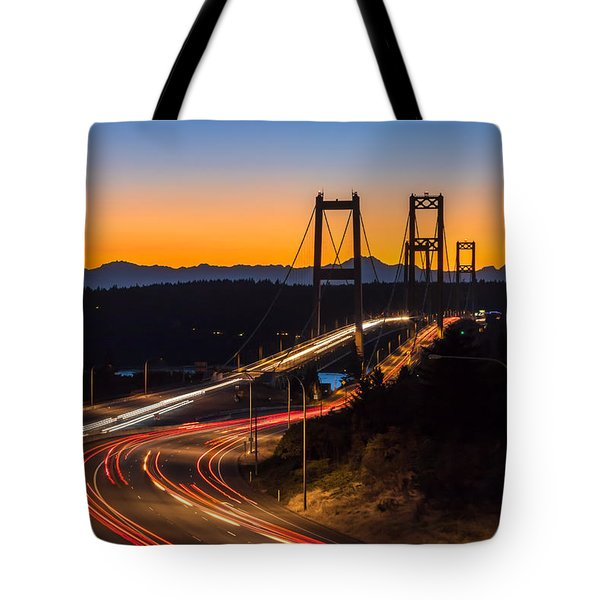 Sunset And Streaks Of Light - Narrows Bridges Tacoma Wa Tote Bag