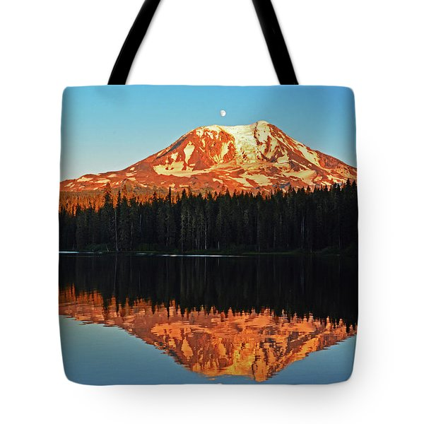 Sunset And Sunrise Mt Adams Tote Bag