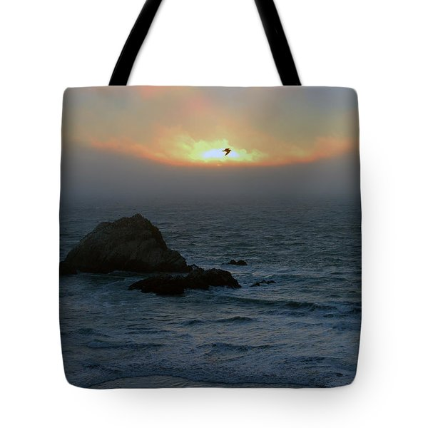 Sunset With The Bird Tote Bag