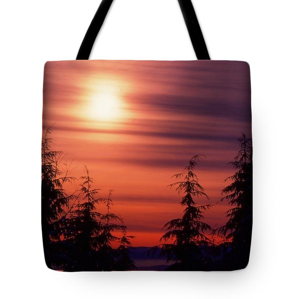 Sunset And Trees Two  Tote Bag by Lyle Crump