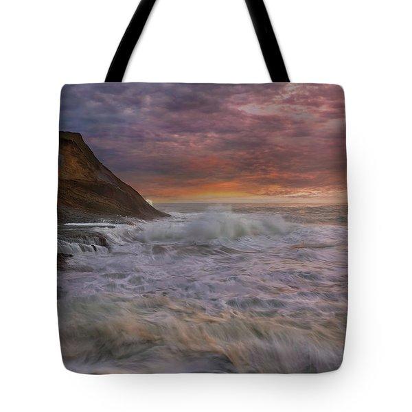 Sunset And Waves At Cape Kiwanda Tote Bag by David Gn
