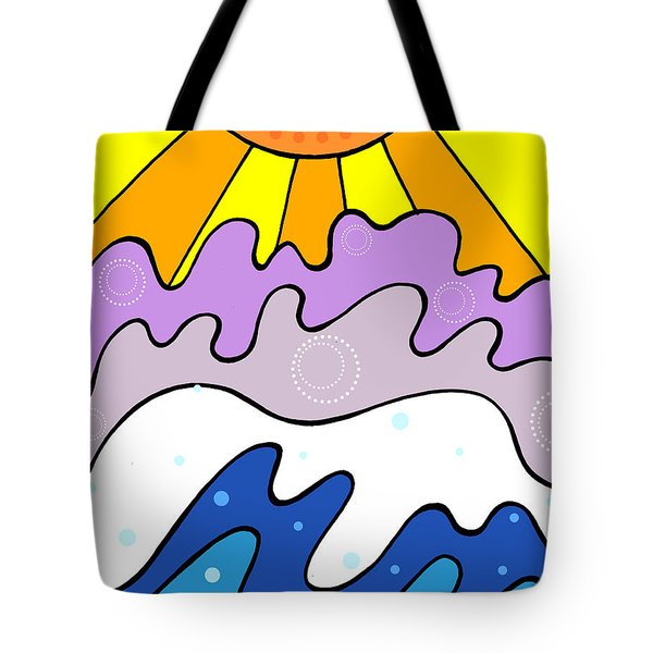 Sunset And Waves Tote Bag by Jayme Kinsey