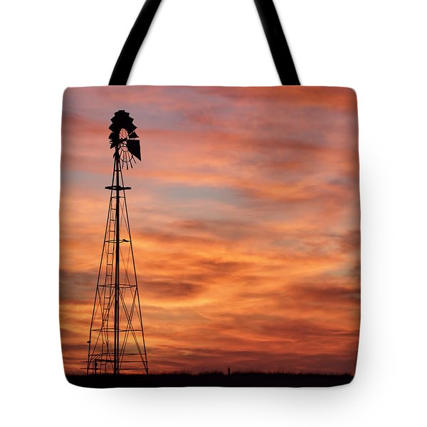 Sunset And Windmill 04 Tote Bag