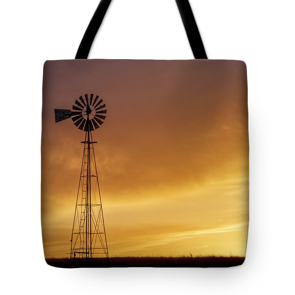 Tote Bag featuring the photograph Sunset And Windmill 09 by Rob Graham