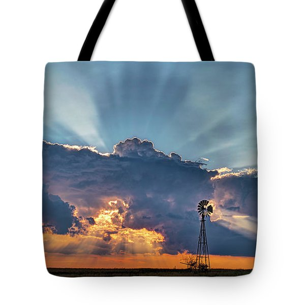 Sunset And Windmill Tote Bag